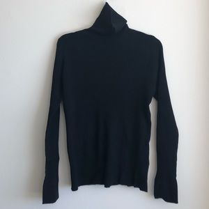 Black Turtleneck Sweater with Gold Detail